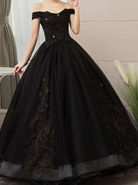 Ball Gown Short Sleeves Floor-Length Embroidery Black Evening Dress