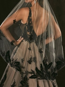 V-Neck Ball Gown Embroidery Court Black Evening Dress