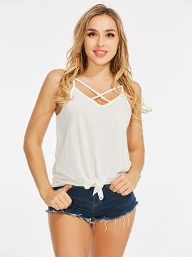 Lace-Up Cross Front Women's Tank Top