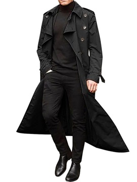 Long Plain Button Double-Breasted Men's Trench Coat
