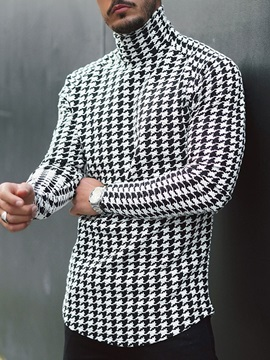 Turtleneck Houndstooth Casual Pullover Men's T-shirt