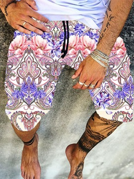 Print Straight Lace-Up Men's Casual Pants
