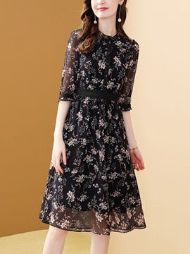 Zipper Round Neck Mid-Calf Pullover Office Lady Women's Floral Midi Dress