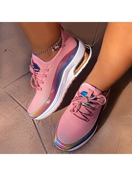 Low-Cut Upper Round Toe Lace-Up Color Block Sneakers