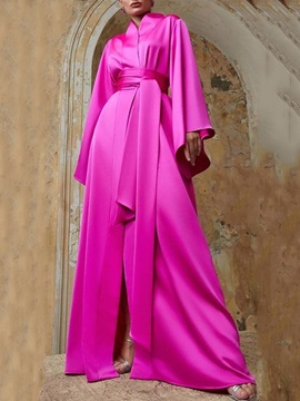 Sashes Ribbons A-Line Floor-Length Long Sleeves Evening Dress