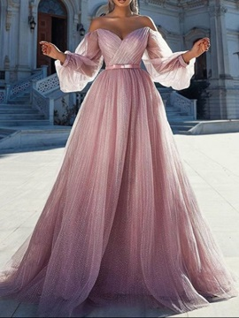 A-Line Floor-Length Strapless Long Sleeves Quinceanera Dress