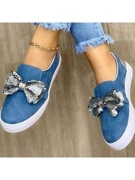 Flat With Slip-On Bow Western Thin Shoes