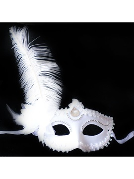 Feather Rhinestone Decorated Masquerade Halloween Mask