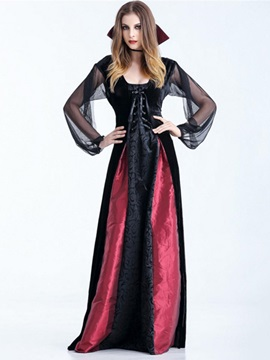 Halloween Costume Long Sleeve Floor-Length Patchwork Winter Color Block Women's Dress