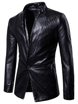 Halloween Stand Collar One Button Men's Leather Jacket