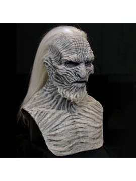 Long Haired Night King Mask Headgear Halloween Horror Mask Latex Face
