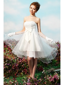 Strapless Bowknot A-Line Mini Reception Wedding Dress