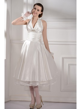 New Style A-Line Knee-Length Halter Wedding Dress