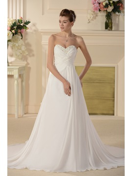 Strapless Pleats Beaded Wedding Dress with Train