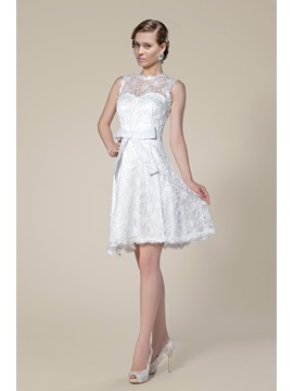 Sheer Lace Jewel Neck Bowknot Short Wedding Dress
