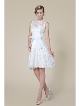 A-Line Lace Jewel Neck Bowknot Short Wedding Dress