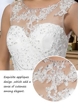 Gorgerous Sleeveless Appliques Scoop Neck Trumpet Wedding Dress