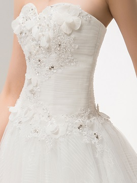 Enchanting A-Line Sweetheart Sleeveless floor-length Sweep Wedding Dress