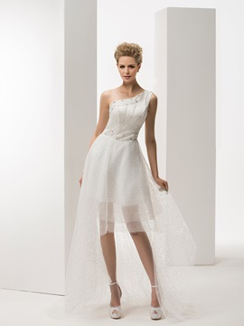 Asymmetry Beading One Shoulder A-Line Summer Wedding Dress