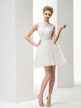 Beautiful A-Line High Neck Appliques Short Wedding Dress