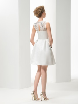 A-line Jewel Neck Short/Mini Wedding Dress