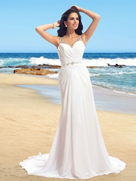 Dazzling Beaded Spaghetti Straps V-Neck  Long Beach Wedding Dress