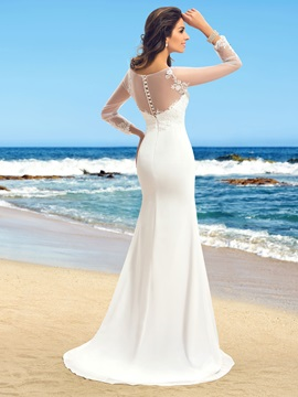 Elegant Sheer Neck Mermaid Long Sleeve Wedding Dress