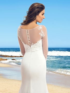 Elegant Sheer Scoop Neck Mermaid Long Sleeve Wedding Dress