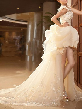 Floral Straps Ruffles High Low Wedding Dress