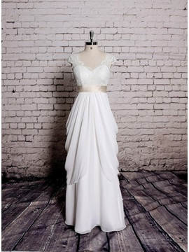 V-Neck Short Sleeve Floor Length Sheath Wedding Dress
