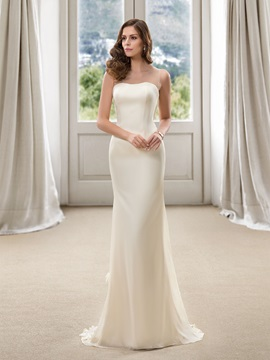 Simple Style Floor Length Flowers Sheath Beach Wedding Dress