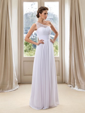 Beaded One Shoulder Sheath White Wedding Dress