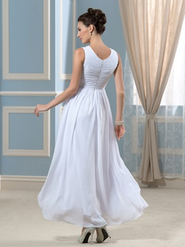 Simple V-Neck Beaded Ankle-Length Empire Wedding Dress