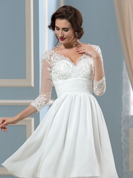 V-Neck 3/4 Sleeve Length Knee-Length Short Wedding Dress