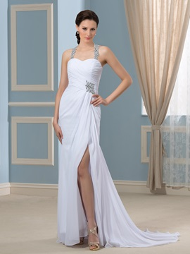 Crystal Beading Pleated Chiffon Court Train Split-Front Wedding Dress