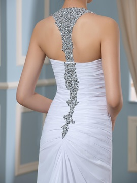 Crystal Beading Pleated Court Train Split-Front Wedding Dress