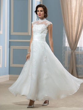 Vintage Choker Neck Appliques A-Line Ankle-Length Wedding Dress