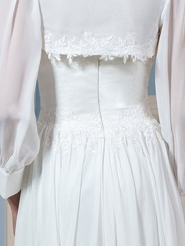 Lace Appliques Sweetheart A-Line Beach Wedding Dress with Long Sleeve Jacket
