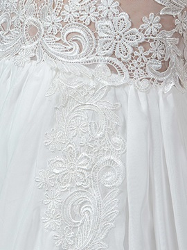 Embroidery Lace Split-Front Long Sleeve Beach Wedding Dress