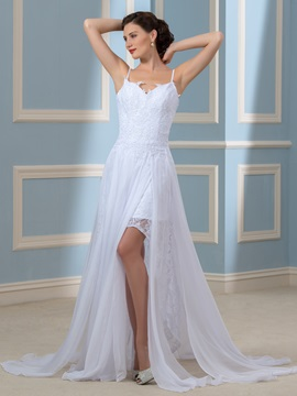 Spaghetti Straps Backless Appliques Chiffon Beach Wedding Dress