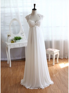 Square Neck Empire Waist Lace Top Beach Wedding Dress