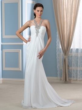 Beaded Strap Ruched Empire Waist Chiffon Long Wedding Dress
