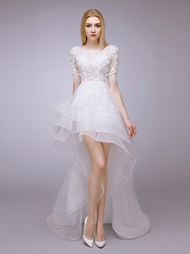 High Low Scoop Neck Half Sleeves Appliques Beach Wedding Dress