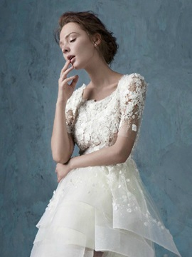 Floral Lace A-Line High Low Short Beach Wedding Dress
