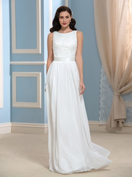 Casual Lace Floor-Length Long Beach Wedding Dress