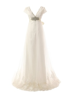 V-Neck Beaded Empire Waist Appliques Wedding Dress with Cap Sleeves