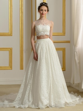 Floor Length A-Line Lace Two Piece Wedding Dress