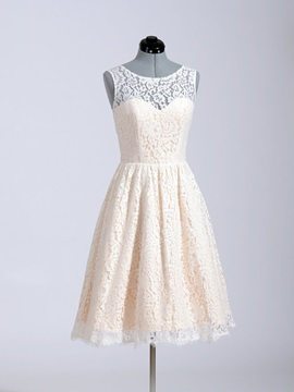 Short Lace Beach Color Wedding Dress