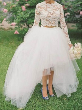 High Low Lace Two Pieces Beach Wedding Dress