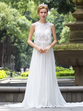 Elegant Scoop Neck Court Train A Line Wedding Dress